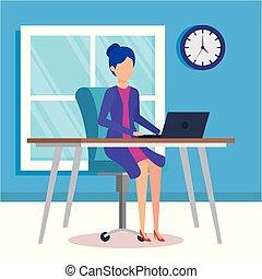 illustratie, vrouw, vector, kantoor, werkende