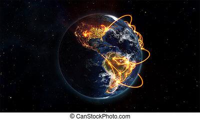 illustratie, wereld, samenhangend, afbeelding
