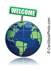 illustratie, wereld, welkom