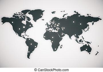 illustratie, wereldkaart, met, hoofdsteden, 3d, render