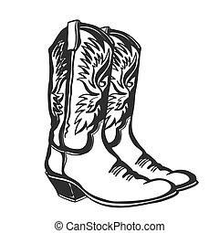 illustratie, witte , grafisch, vector, vrijstaand, cowboy, ontwerp, boots.