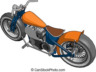 illustratie, witte , vector, achtergrond., sinaasappel, motorfiets