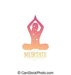illustratie, yoga, vector, het peinzen, meisje