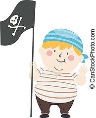 illustratie, zeerover, jongen, vlag, groot jong geitje, golf