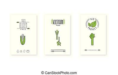 illustratie, zijn, product, gebruikt, embleem, winkel, landbouwers, voedingsmiddelen, vegetariër, achtergrond, vegan, kentekens, vector, markt, bio, organisch, witte , logo, groenteblik