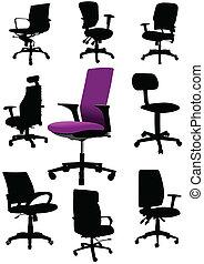 illustraties, cha, set, kantoor, groot