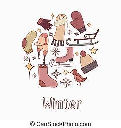 illustraties, doodle, set, winter
