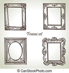 illustraties, getrokken, frame, set., hand