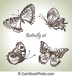 illustraties, getrokken, set, butterfly., hand