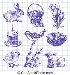 illustraties, getrokken, set., pasen, hand