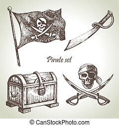 illustraties, getrokken, set., piraten, hand