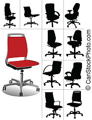 illustraties, groot, ch, set, kantoor