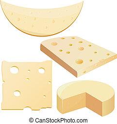 illustraties, kaas, vector, verzameling