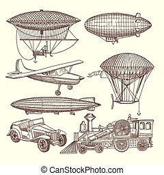 illustraties, steampunk, stijl, set, machines