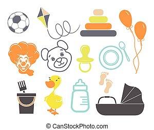 illustraties, van, de, baby, iconen