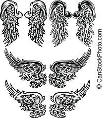 illustraties, vector, vleugels, engel