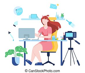 illustratiion, blogging, vetorial, idéia, criatividade, vídeo, concept.