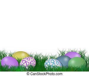 illustratio, erba pasqua, 3d, uova
