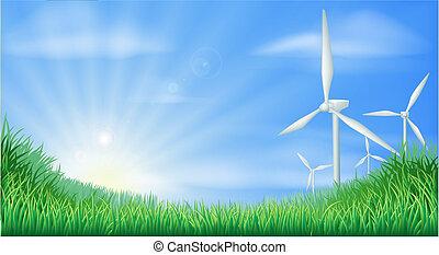 illustratio, paysage, turbines, vent