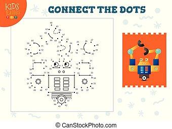 illustratio, vector, conectar, puntos, juego, niños