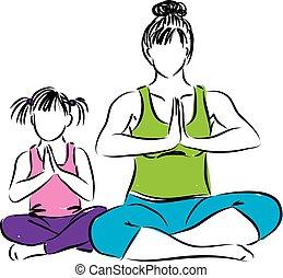 illustratio, zen, figlia, madre