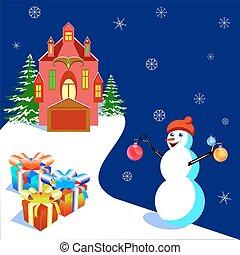 illustratiob, maison, bonhomme de neige, vecteur, bannières, carte