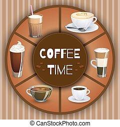 illustration, à, café, drinks., boissons chaudes, ensemble