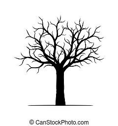 illustration., árbol, leaves., sin, vector, negro