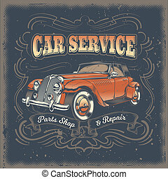 illustration, årgång, affisch, retro, bil, röd