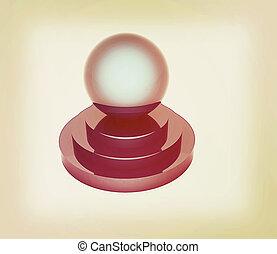 illustration., årgång, glob, podium., style., 3