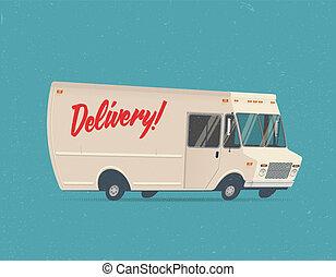 illustration., årgång, leverans, vektor, lastbil, designa, tecknad film