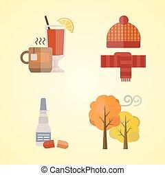 illustration, écharpe, ensemble, vin, feuilles thé, chauffé, arbre, jaune, automne, couleurs, temps, vecteur, collection, automne, gants, froid, articles, chapeau, vêtements rouges
