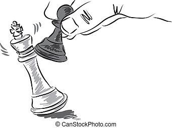 illustration, échecs, business, morceaux