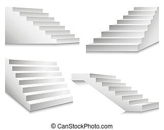 illustration, échelles, podium, vecteur, escaliers, escalier, ou