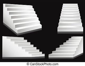 illustration., échelles, podium, vecteur, escaliers, escalier, ou