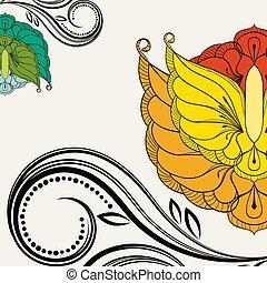 illustration., élément, arrière-plan., vecteur, oriental, floral, design.