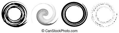 illustration, élément, circulaire, tourbillon, set., forme, ...
