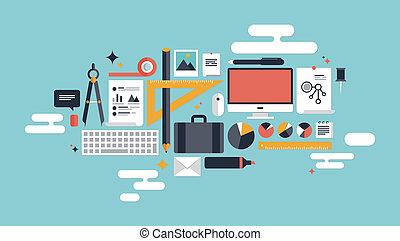 illustration, éléments, business, fonctionnement