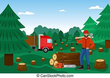 illustration., éles, dübörög, karikatúra, favágó, erdő, ...