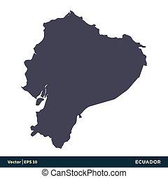 illustration, équateur, sud, vecteur, amérique, -, design., logo, eps, icône, pays, 10., carte, gabarit