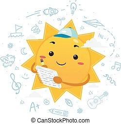 illustration, été, mascotte, journal, soleil