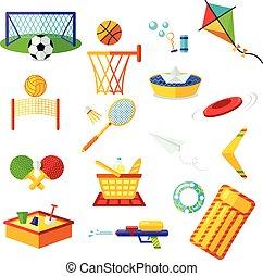 illustration, été, récréation, ensemble, activities., gosses, elements., plat, set., isolé, collection, vacances, symboles, extérieur, plage., rest., activité, vacances, vecteur, éléments