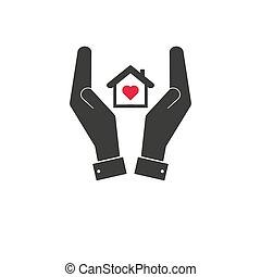 illustration., ícone, construção, símbolo, home., companhia, manutenção, house., reparar, vetorial