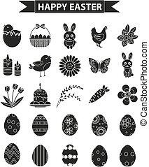 illustration., ícone, jogo, silueta, vetorial, pretas, páscoa feliz, style., esboço
