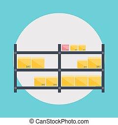 illustration., ícones, armazenamento, vetorial, logistic, em branco, armazém, transporte