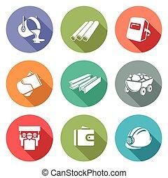 illustration., ícones, set., metalurgia, vetorial, indústria