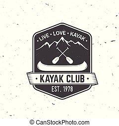 illustration., αγάπη , ζω , club., είδος ξύλινης βάρκας , μικροβιοφορέας , kayak.