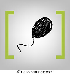 illustration., αγκάλη , balloon, κίτρο , grayish, σήμα , φόντο. , μαύρο , vector., γράφω απροσεκτώς , εικόνα