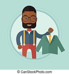 illustration., αγοραστής , ζακέτα , μικροβιοφορέας , κράτημα , κουστούμι