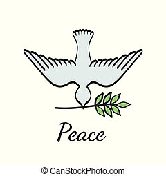 illustration., αφίσα , ειρήνη , μικροβιοφορέας , παράρτημα , ελιά , διεθνής , περιστέρα , ημέρα